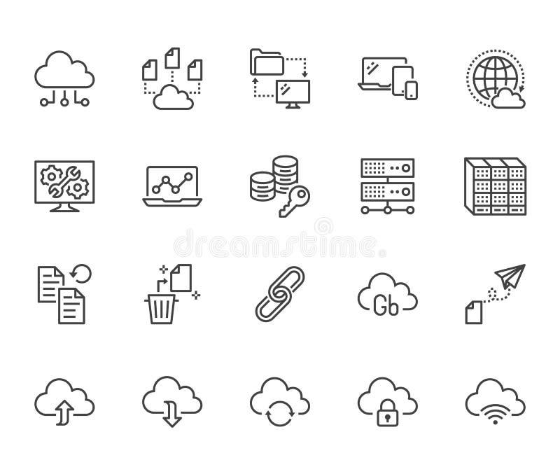 Linje symbolsupps?ttning f?r molndatalagring Databas informationslagring, servermitt, globalt n?tverk, reserv, nedladdningvektor vektor illustrationer
