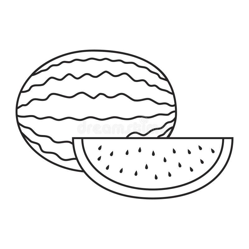 Linje symbolsvattenmelon och skiva av vattenmelon royaltyfri illustrationer