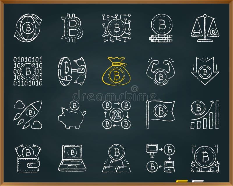 Linje symbolsvektoruppsättning för Bitcoin kritaattraktion vektor illustrationer