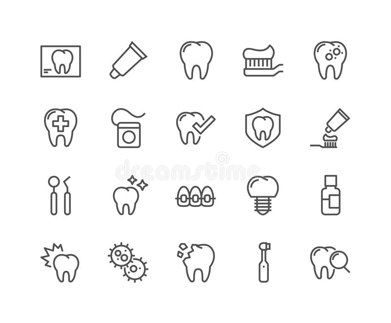 Linje tandläkare Icons royaltyfri illustrationer