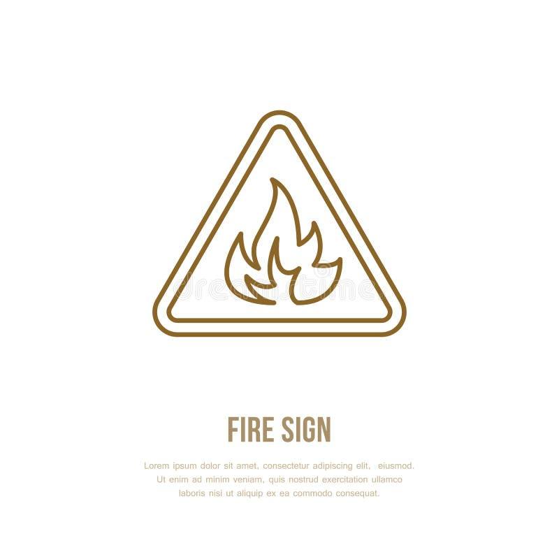Linje tecken för brandfaralägenhet Tunn linjär symbol för flammaskydd, pictogram Vektor som isoleras på vitbakgrund stock illustrationer