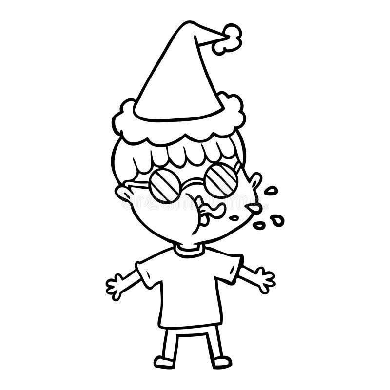 linje teckning av b?rande anblickar f?r en pojke som b?r den santa hatten royaltyfri illustrationer
