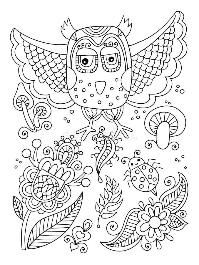 Linje teckning av skogbeståndsdelar - uggla, blommor, champinjoner, berri royaltyfri illustrationer