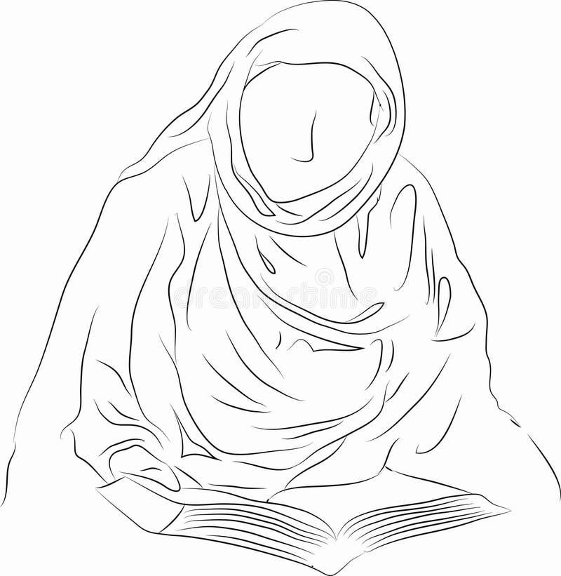 Linje teckning för islamkvinnaläsning royaltyfri illustrationer