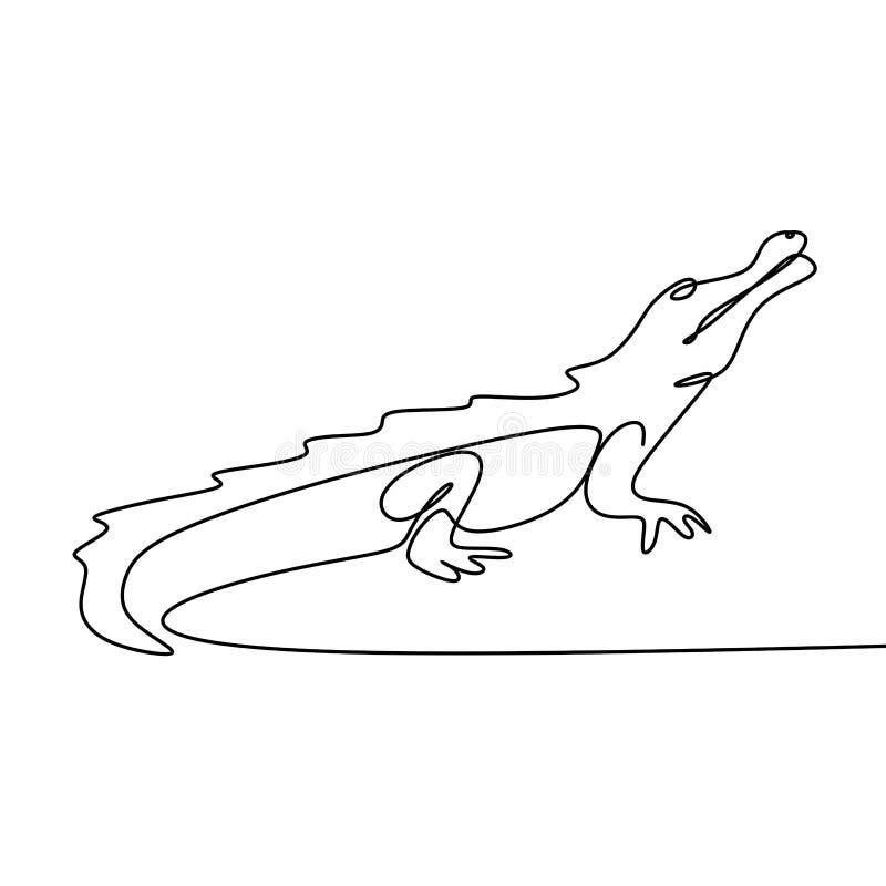 Linje teckning för krokodil en royaltyfri illustrationer