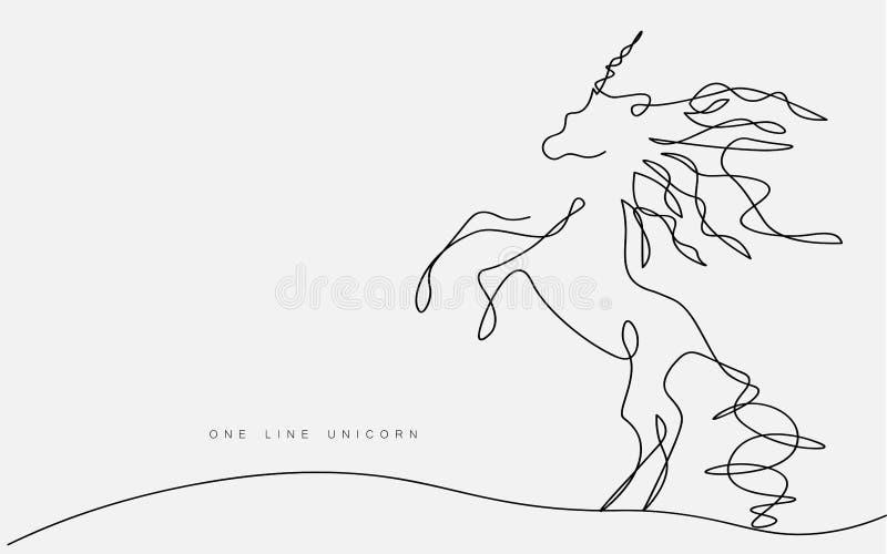 Linje teckning, magiskt djurt tryck för fantasi, vektorillustration för enhörningvektorkontur en vektor illustrationer