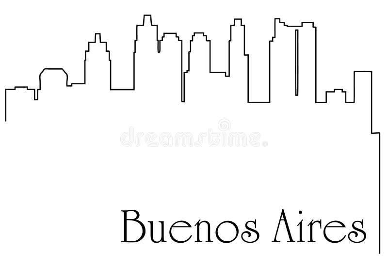 Linje teckningsabstrakt begreppbakgrund för Buenos Aires stad en stock illustrationer