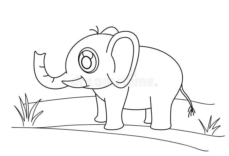Linje teckningselefant och gräs för ungar som målar konststudien royaltyfri illustrationer