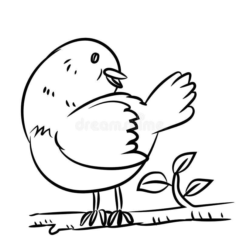 Linje teckningsfågel - vektorillustration royaltyfri illustrationer