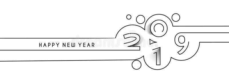 Linje textdesign för lyckligt nytt år 2019 royaltyfri illustrationer