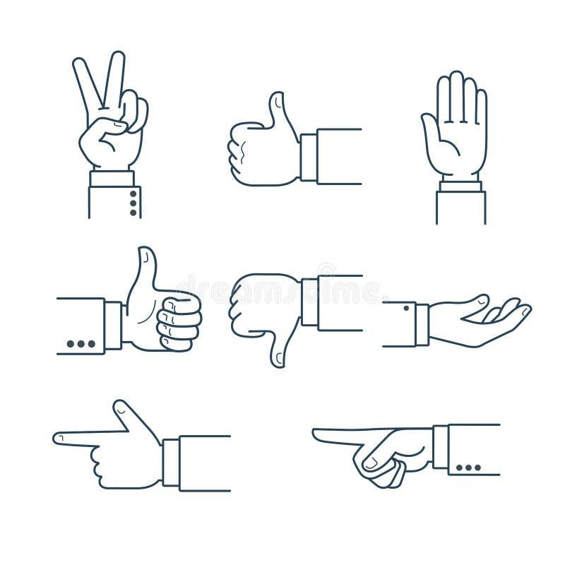 Linje tummar för konsthandgest upp som symbolgodkännande V vektor illustrationer