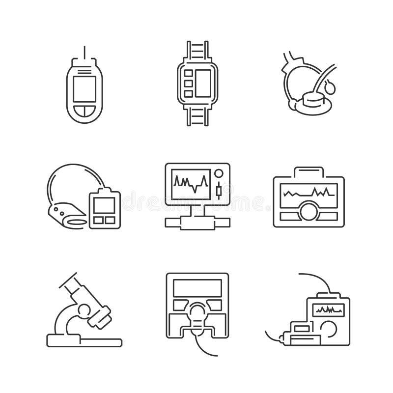 Linje uppsättning för symbol för medicinsk apparat för symboler royaltyfri bild