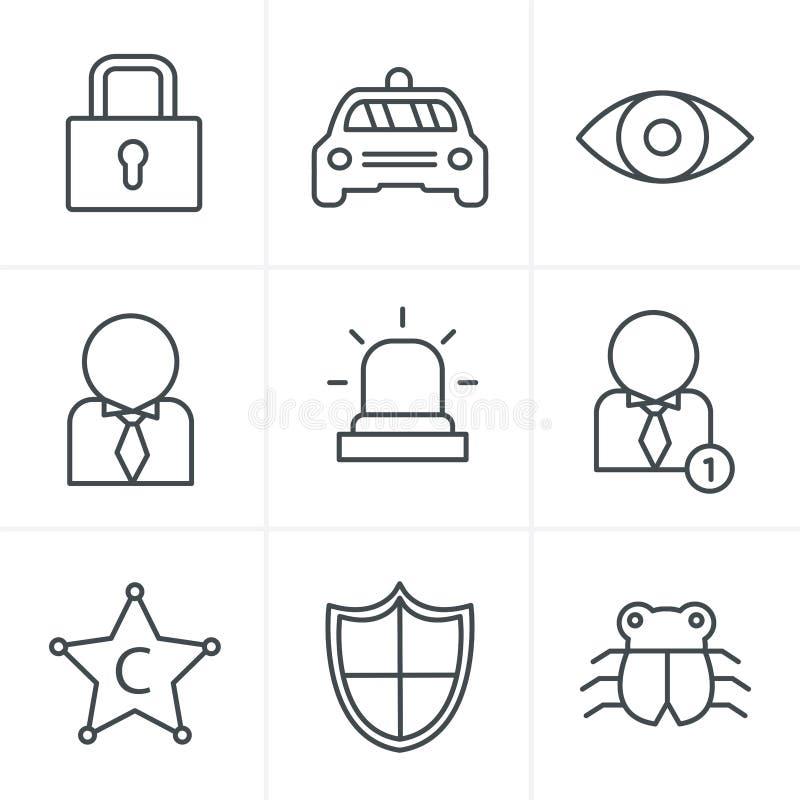 Linje uppsättning för symbol för symbolsstilsäkerhet vektor illustrationer