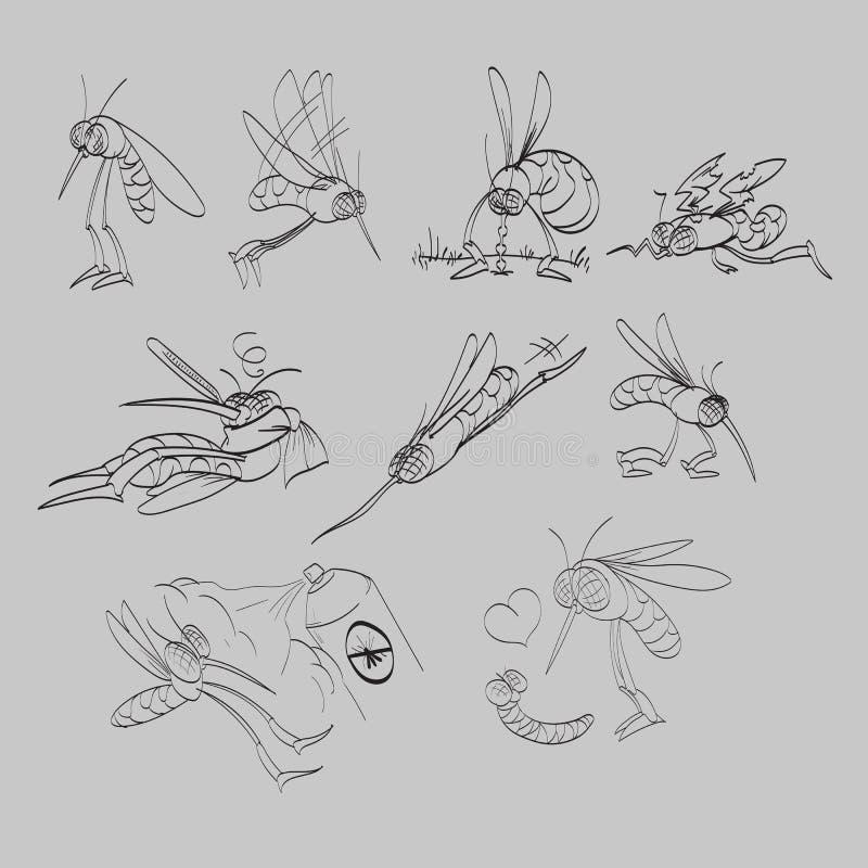 Linje uppsättning för teckningsmyggaillustration vektor illustrationer