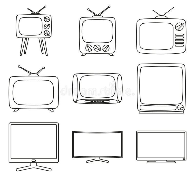 Linje uppsättning för tv för 9 beståndsdel för konst svartvit royaltyfri illustrationer