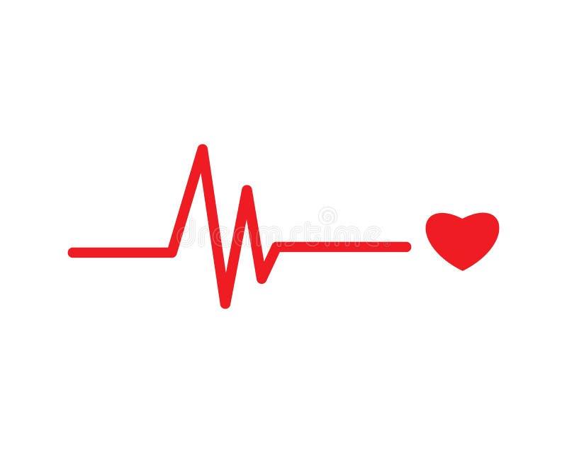 linje vektor för hjärtatakt vektor illustrationer
