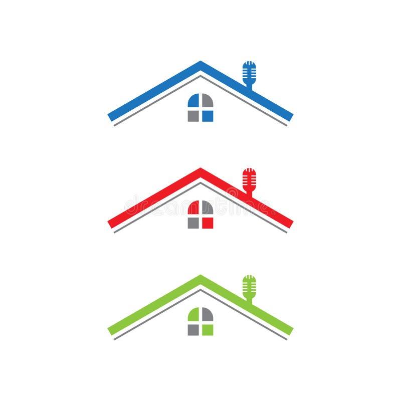 Linje vektor för husfastighetlogo blå, röd grön färg stock illustrationer