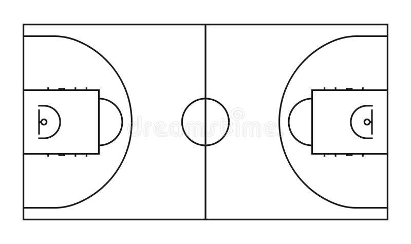 Linje vektorbakgrund för basketdomstol Fält för översiktsbasketsportar royaltyfri illustrationer