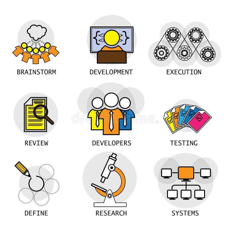 Linje vektordesign av programvarubranschprocessen av utveckling & royaltyfri illustrationer