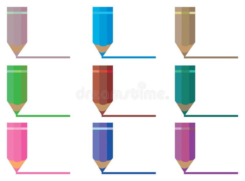 Linje vektorillustration för färgblyertspennateckning royaltyfri illustrationer