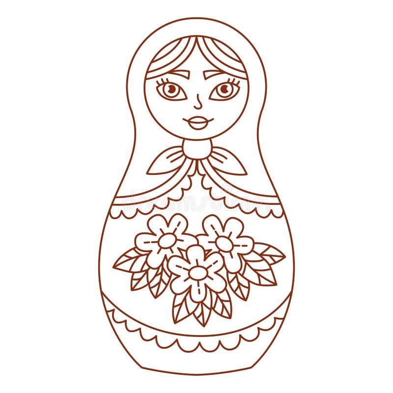 Linje vektorillustration för klotter för Matreshka ryssdocka royaltyfri illustrationer