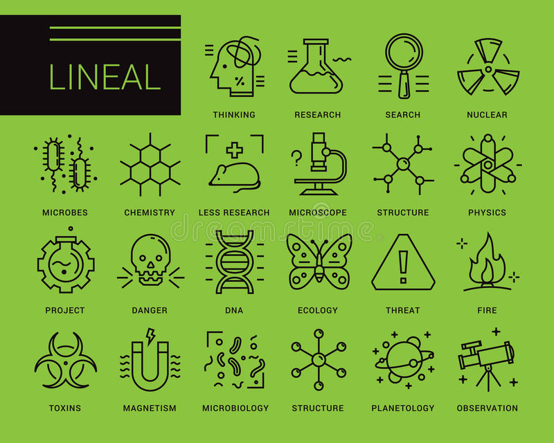 Linje vektorsymboler i en modern stil stock illustrationer