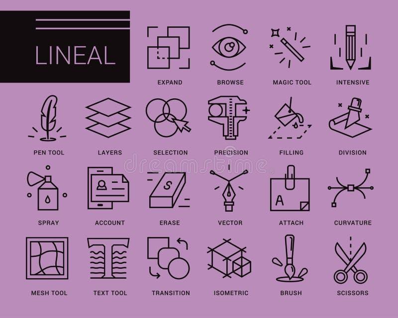 Linje vektorsymboler i en modern stil vektor illustrationer