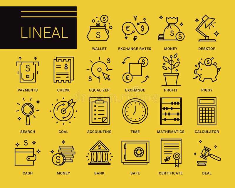 Linje vektorsymboler i en modern stil royaltyfri illustrationer
