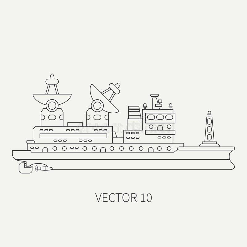 Linje vetenskapligt skepp för plan symbol för vektor retro Forskningflotta Tecknad filmstil forskare sonar telemetry hav vektor illustrationer