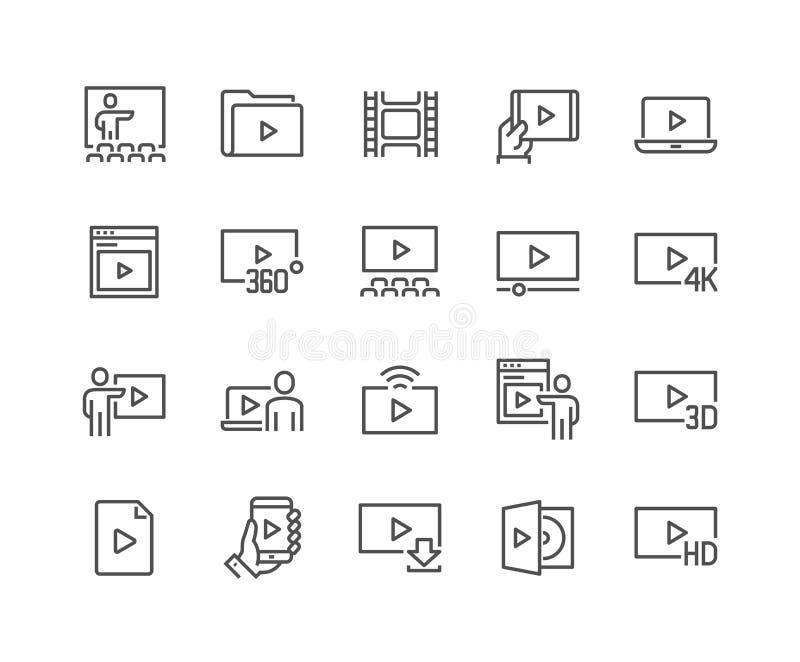 Linje videosymboler royaltyfri illustrationer
