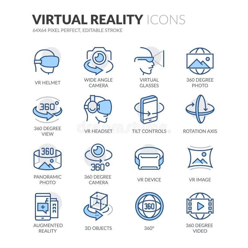 Linje virtuell verklighetsymboler royaltyfri illustrationer