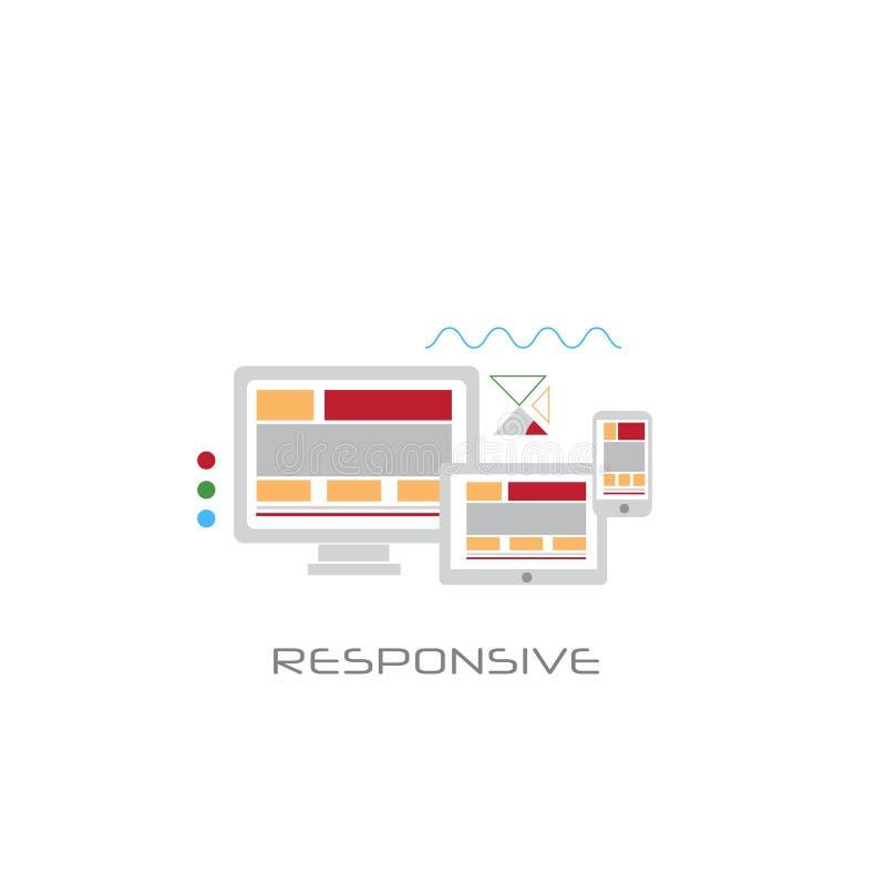 Linje vit bakgrund för begrepp för design för bildskärm för dator för skrivbords- PC för telefonminnestavla svars- för stil stock illustrationer