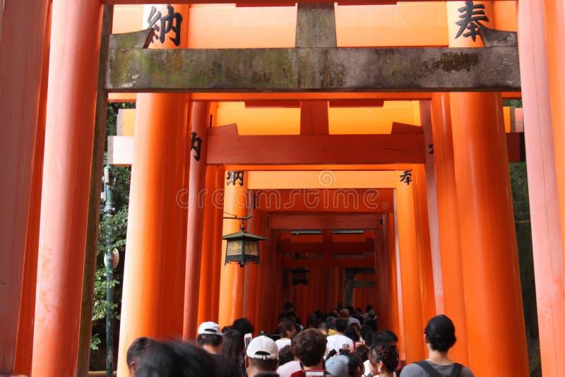 Linjen av portar på den Fushimi Inari relikskrin i Kyoto, Japan arkivfoto