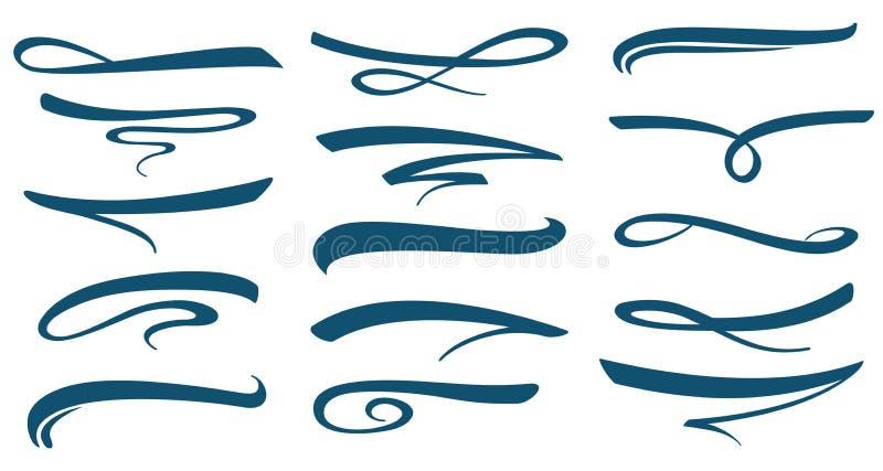 Linjen bokstäver för vektormarkörslaglängden understryker samlingen stock illustrationer
