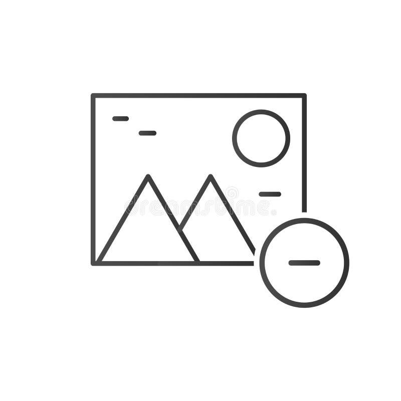 linjen borttagnings eller tar bort fotosymbolen, vektorillustrationen som isoleras på vit bakgrund vektor illustrationer