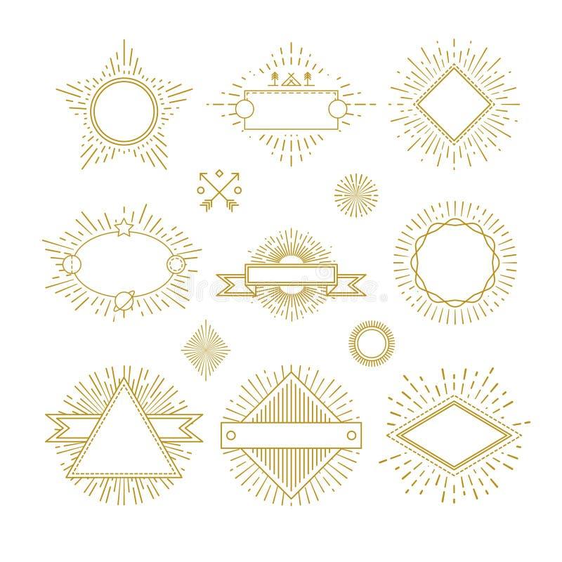 Linjen emblem, emblem, etiketter, logoer för tappningcirkelsunbursten med soluppgångramvektorn ställde in stock illustrationer