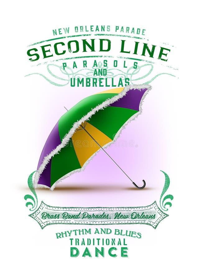 Linjen för den New Orleans kultursamlingen ståtar i andra hand paraplyet royaltyfri illustrationer