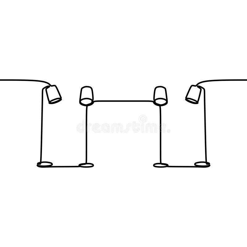 linjen in för den universella lampan för två golvlampor ställde den fortlöpande som ska användas för rengöringsduk och mobil, av  stock illustrationer