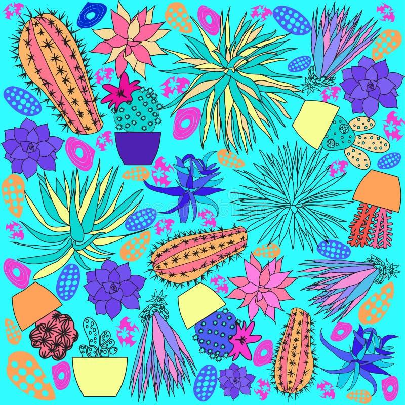Linjen för klottertecknad film för konst handen dragen uppsättning av kaktuns skissar b royaltyfri illustrationer
