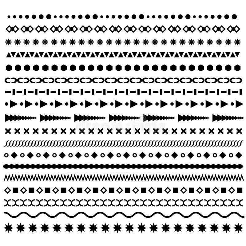 Linjen gränsen, geometriska prickiga vektoravdelare ställde in Moderiktiga hipsterstilborstar stock illustrationer