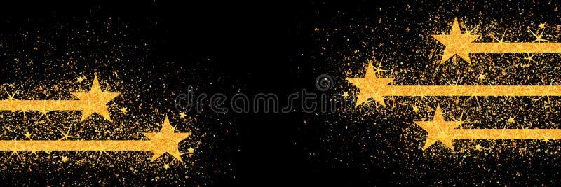 linjen guld för 5 stjärna blänker konkurrensmittbanret vektor illustrationer