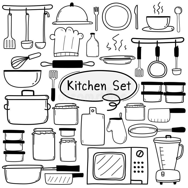 Linjen handen dragen uppsättning för klottervektorkök inkluderar matlagningutrustning royaltyfri illustrationer