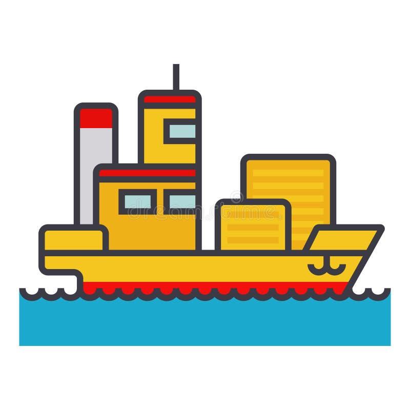 Linjen illustrationen, begreppsvektor för lägenheten för skepplastbehållaren isolerade symbolen royaltyfri illustrationer