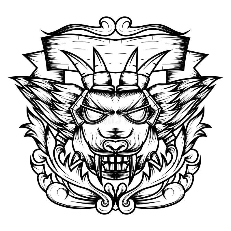 Linjen konst av jäkels dekorativ sakral geometri för huvud är en illustration av en jäkels huvud med skarpa huggtänder och v vektor illustrationer