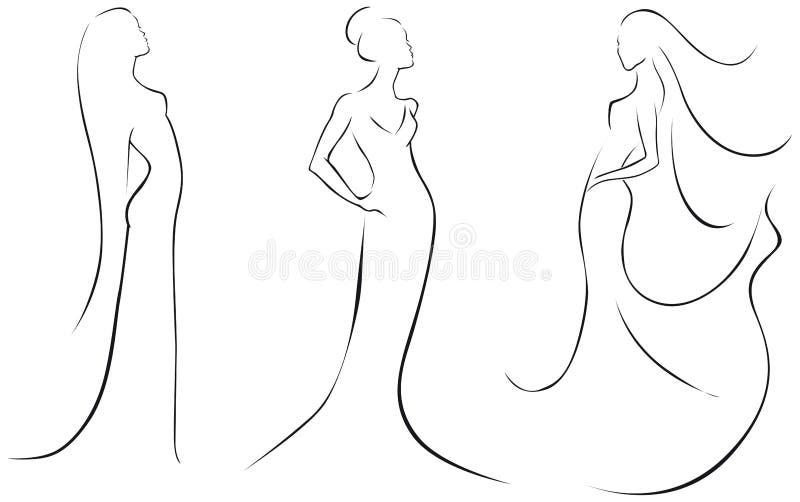 Linjen skissar av sexiga kvinnor royaltyfri illustrationer