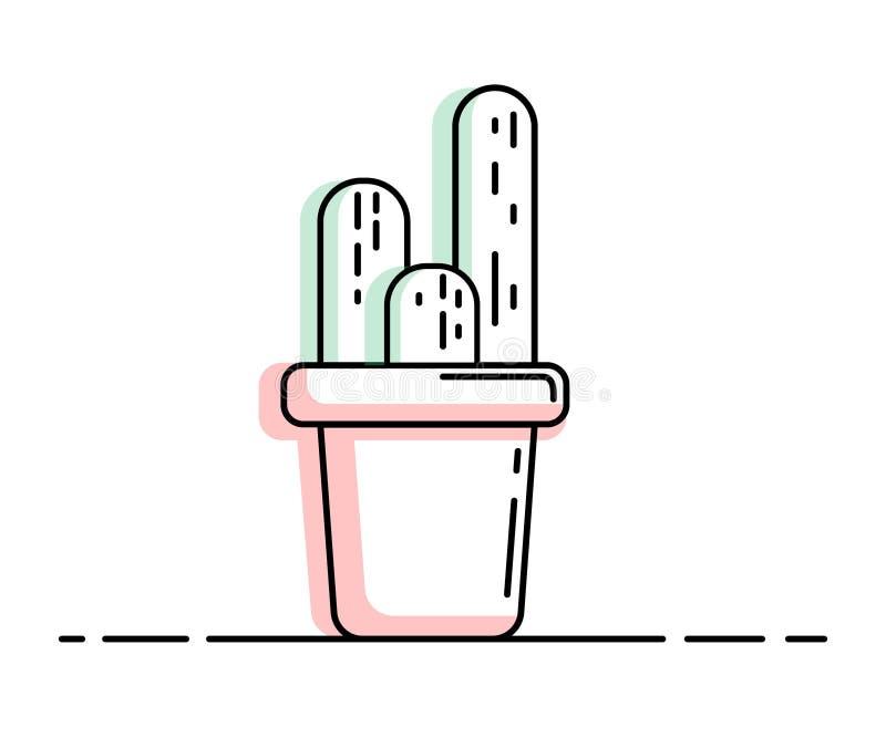 Linjen symbol av kaktuns royaltyfri illustrationer