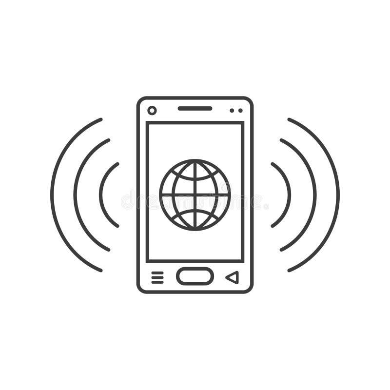 Linjen symbol för konstringningsmartphone med ett tecken av den webbläsarejordklotet och signalen vinkar stock illustrationer