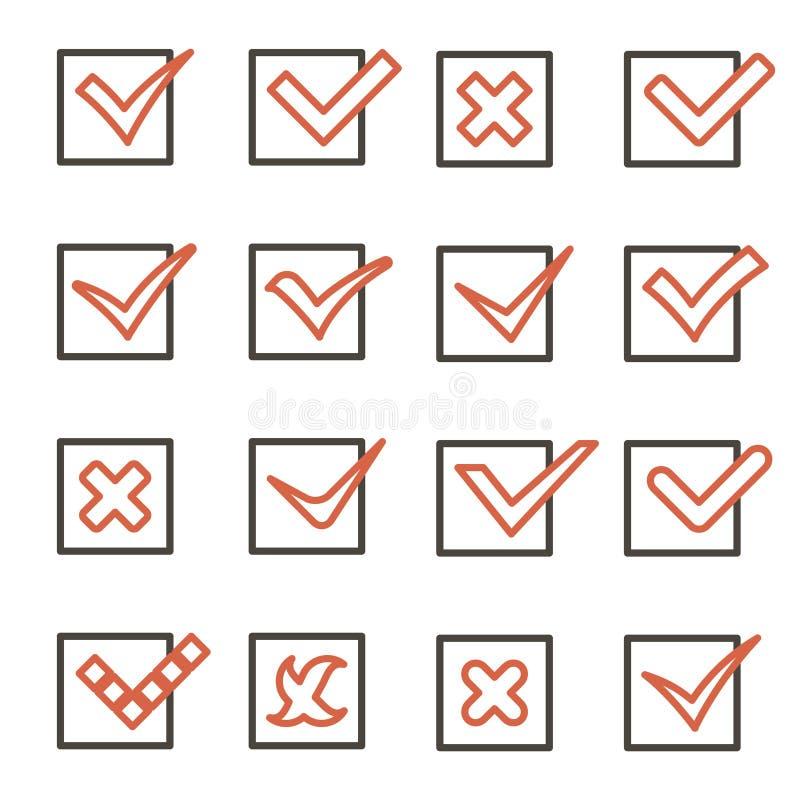 Linjen symboler för konstkontrollfläckar tickar och korsar symboler ställde in den mobila illustrationen för den Apps mallvektorn vektor illustrationer