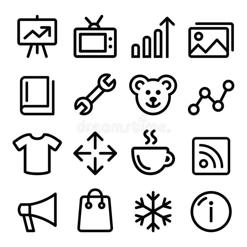 Linjen symboler för rengöringsdukmenynavigering ställde in - fotogallerit, online-lager stock illustrationer