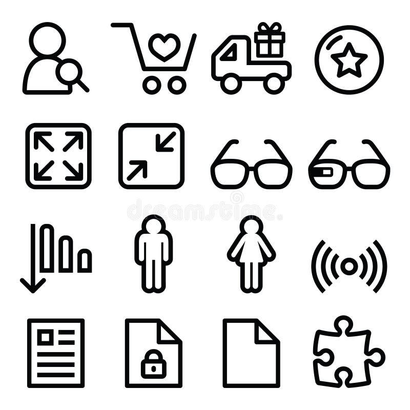 Linjen symboler för rengöringsdukmenynavigering ställde in - shopping, dokument royaltyfri illustrationer